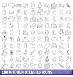 100 kitchen utensils icons set outline style vector image vector image