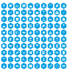 100 tea party icons set blue vector