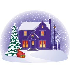 House in winter christmas night vector