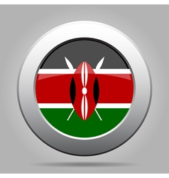 Flag of kenya shiny metal gray round button vector