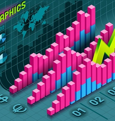 Isometric infographic histogram set elements in vector