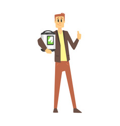 Man holding slow rice cooker department store vector