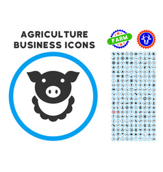 Pig reward rounded icon with set vector