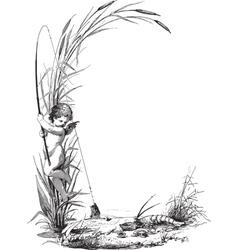 Fishing Child vector image