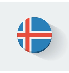 Round icon with flag of iceland vector