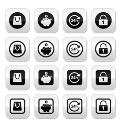 Shopping buttons set - account save 24h shoppin vector