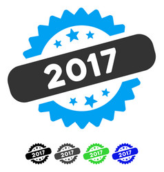 2017 stamp flat icon vector image