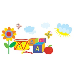 Funny banner for kids and kindergarten with toys vector