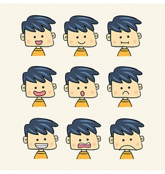 Set of faces with various emotion expressions cart vector image