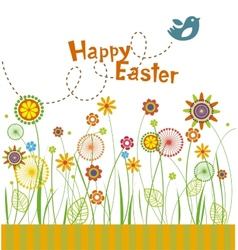 Easter flowers greeting card vector