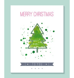 Watercolor Christmas greeting card vector image