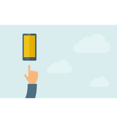 Hand pointing mobile phone with blank screen vector