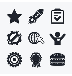 Star and globe signs checklist gear vector