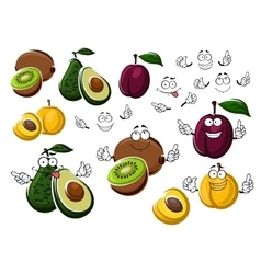 Cartoon avocado kiwi plum and peach vector