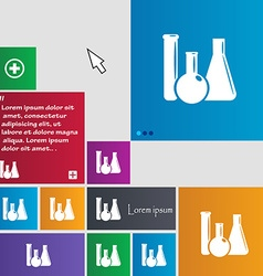 Laboratory glass chemistry icon sign buttons vector