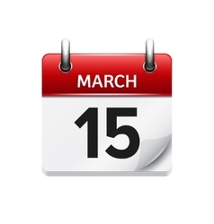 March 15 flat daily calendar icon date vector