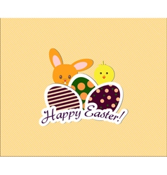 Easter card with bunny chicken and eggs vector