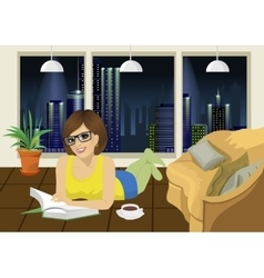 Young woman reading book at home vector