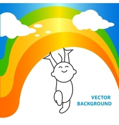 background of joyful baby holds rainbow vector image vector image