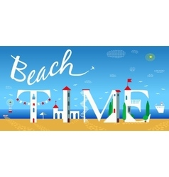 Beach time travel card artistic font vector