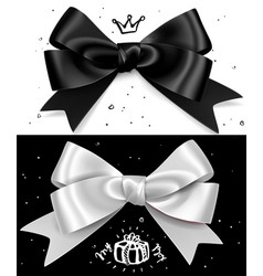 black and white gift bows satin isolated glamour vector image vector image
