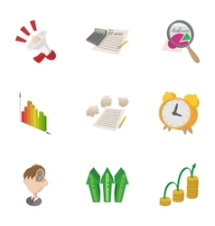 Business analyst icons set cartoon style vector