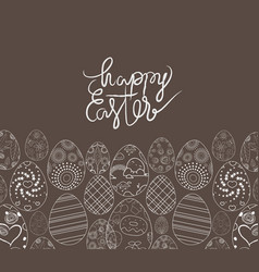 easter eggs hand drawn on chalk board vector image vector image