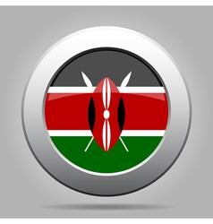 Flag of kenya shiny metal gray round button vector
