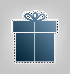 Gift sign blue icon with outline for vector
