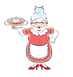 Grandma with baked cake vector