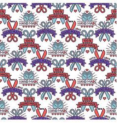 Handmade needlework craft seamless pattern sewing vector