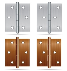 Hinges Design Stainless steel hinges and bronze vector image