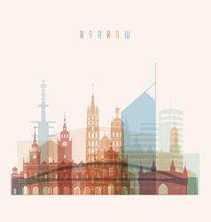Krakow skyline detailed silhouette transparent vector