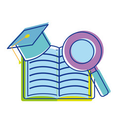 Open notebook with graduation cap and magnifying vector