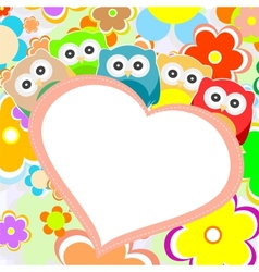 owls flowers and valentines heart vector image vector image