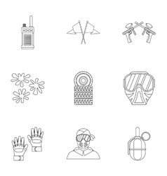 Paintball icons set outline style vector