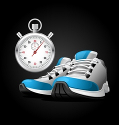 Pair of running shoes and stopwatch vector image vector image