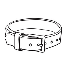 pet cat dog brown leather collar with metal vector image