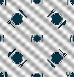 Plate icon sign Seamless pattern with geometric vector image