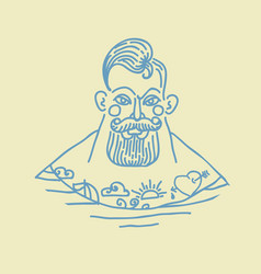 portrait of bearded and tattooed sailor vector image vector image
