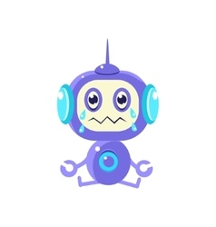Robot Sitting Crying vector image