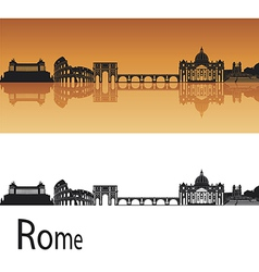 Rome skyline in orange background vector image vector image