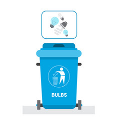 Rubbish container for light bulbs waste icon vector