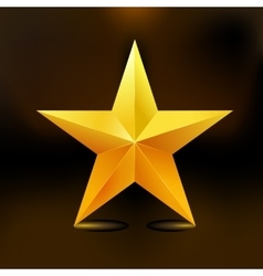Single golden star shine on dark background vector image vector image