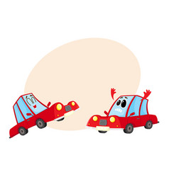 two red car characters one dismayed and despaired vector image vector image