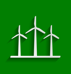 Wind turbines sign paper whitish icon vector