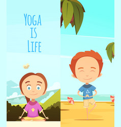 yoga is life two vertical banners vector image