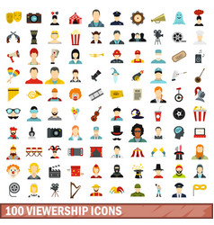 100 viewership icons set flat style vector