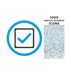 Checkbox rounded icon with 1000 bonus icons vector