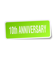 10th anniversary square sticker on white vector